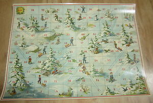Old 1895 Antique French Game BOARD PRINT - SLEDDING - Sur La Glace