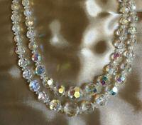 VINTAGE Rainbow Clear Aurora Borealis Double Strand Necklace #3