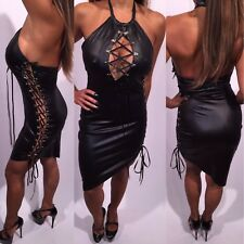 Connie's Stretch Black Halter Mini Dress With Lace up side and Chest  XXL