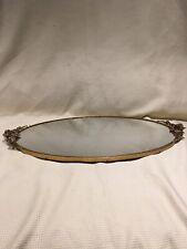 "Vintage Mirror Vanity 24kt Gold Plated Globe Floral 18"" x 10 /12"""