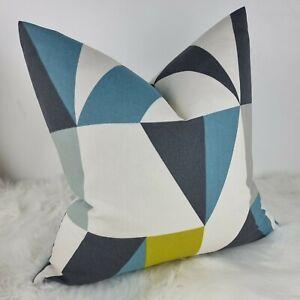 "SCION ""Nuevo"" Fabric Marine/Kiwi/Midnight Cushion Cover, Reversible  Geometrical"
