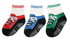 Baby Boys 3-pack Sneaker-like Anti-slip Ankle Grip Socks 12 18 24 Months 1 2 3 Y
