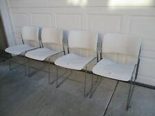 4 Vintage David Rowland 40/4 Mid Century Modern Chrome White Stacking Chairs