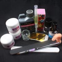 Nail Art Kit 120ml Acrylic Liquid Powder Buffer File Brush Dryer Tools Kit Set