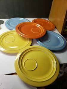 RARE SET PACIFIC POTTERY CALIFORNIA SNACK TRAY PLATES ASSORTED COLORS MINT