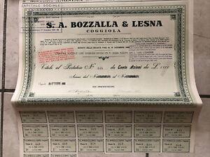 Certificato Azionario Al Portatore Lanificio