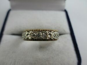 VINTAGE 9ct YELLOW & WHITE GOLD CLEAR STONE ETERNITY RING UK SIZE R1/2  4.3g
