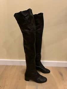 Authentic CHANEL over the knee quilted  boots 37