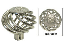 "Brushed Nickel Birdcage sunflower Kitchen Bathroom Cabinet Knobs 1 5/8"" 40mm"