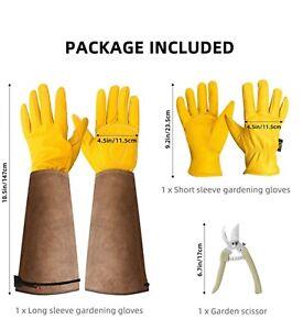 Cowhide Gardening Gloves Thorn Proof Rose Pruning Adjustable Leather Work Gloves