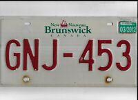 """NEW BRUNSWICK passenger 2012 license plate """"GNJ-453"""""""