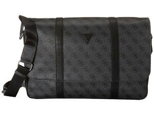 NEW GUESS Men's Black Logo Flap Messenger Work Laptop Crossbody Bag