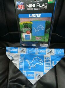 "New DETROIT LIONS MINI window FLAG 15""x10.5""Weather resist NYLON & 1 streamer"