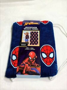 Spiderman Marvel Bath/Pool/Beach Towel and Drawstring Backpack Set NEW