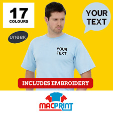 Uneek UC301 Personalised Embroidered T-Shirts, Workwear, Customised T-Shirt