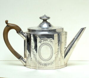 An Antique English GEORGE III Georgian Neoclassical STERLING SILVER Teapot 1802
