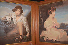 1960s Two Paint by Numbers Romantic Child Portraits Boy with Rabbit Girl 16 x 20