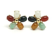 Signed HARRY S BICK Red Yellow White Green JADEITE 14k Gold Jade Earrings HSB