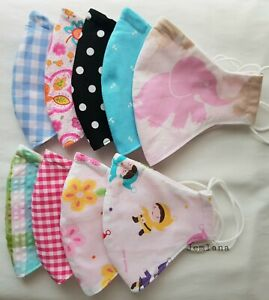 Handmade 3 layers 100% cotton face mask for kids(4y to 11y) Washable, Reusable
