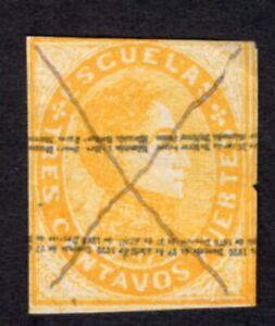Venezuela 1871 stamp Mi#Stempelm 3I cancellation by feather+inv.overprint RARE!