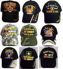 US Military Veterans Baseball Caps Hats Asstd Styles Wholesale 12 Pcs (E7506V#)