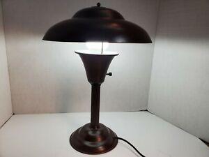 Mid century modern metal atomic flying saucer table lamp