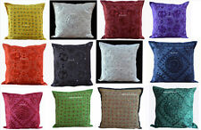 "SET OF 9 INDIAN HANDMADE 16X16"" MIRROR PILLOW CUSHION COVER ETHNIC DECOR ART GJ"