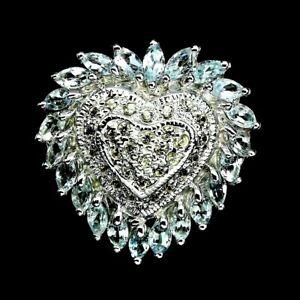 BIG! SWEET AQUAMARINE & YELLOW SAPPHIRE HEART RING 925 STERLING SILVER SZ 8