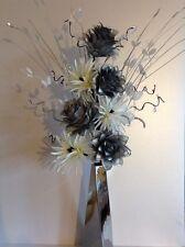 Artificial Silk Flower Arrangement Silver & White In Slim Silver Vase