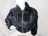 Skea Paris / Vail Womens Black faux fur bomber Pony Ski dressy jacket sz 6 USA