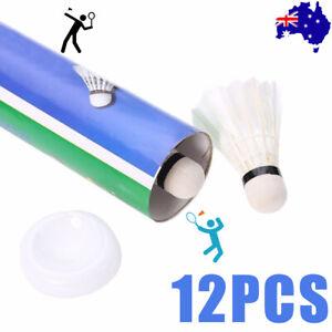 12 Pcs White Goose Feather Badminton Sport Shuttlecocks Durable Training