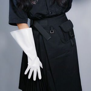 PATENT LONG GLOVES Unisex Faux Leather Wide Balloon Puff Sleeves L Leopard 38cm