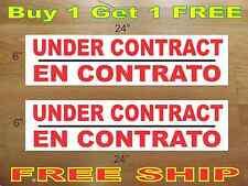 """UNDER CONTRACT EN CONTRATO 6""""x24"""" REAL ESTATE RIDER SIGNS Buy 1 Get 1 FREE"""