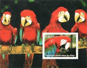 2002   CONGO  - SG: N/A -  PARROTS - UNMOUNTED MINT M/S