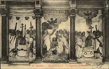 Reims France AK 1908 Eglise St. Remi Le Baptême de Clovis Relief Kirche gelaufen
