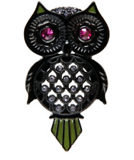 Betsey Johnson Vampire Black Owl Pin Brooch NEW Hard to Find