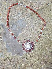 "Handmade beaded pendant 16"" red pink & silver"