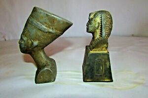 Old Vintage Of The Face Queen Nefertiti And King Tutankhamun metal made in Egypt