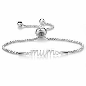 Silver Mum Bracelet Created with Austrian Crystals