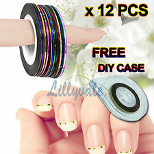 12 COLORS NAIL STICKER ROLLS STRIPING TAPE LINE NAIL ART UV GEL TIPS DIY KIT