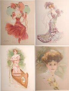 Victorian Woman Prints 1903-10 46 DIFFERENT Color Litho- 10x13 Chromolithographs