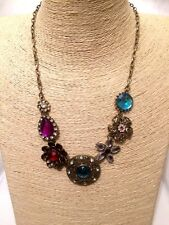 STATEMENT Long Gold Chain Necklace MULTI-COLOURED Crystal Diamante Rhinestone UK