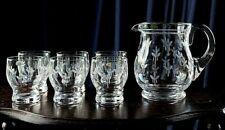 Vintage Art Deco Stuart Crystal Water Set - Jug With Six Glasses