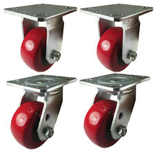 "4"" x 2"" Heavy Duty ""Polyurethane Wheel"" Caster - 2 Swivels and 2 Rigids"