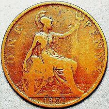 1901 United Kingdom One Penny Victoria Queen A313