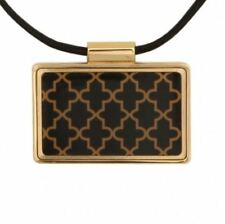 Halcyon Days, Agama Black Enamel & Gold Frame Pendant, On Leather Chain, New