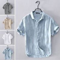 Men's Short Sleeve Linen Shirts Beach Loose Casual Stand Collar Blouse Tee Tops
