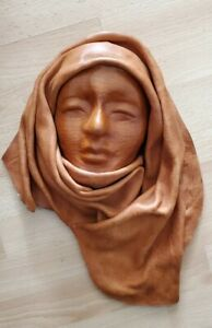 VTG Hand-made all Leather decor Wall Hanging Face Mask Rare
