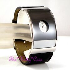 Retro Black Glass Silver Designer Curved Eames Wide Statement Leather Cuff Watch