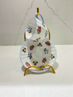 """SHELLEY Demitasse Cup & Saucer """"Rose Pansy Forget Me Not"""" Blue Rimmed 13424"""